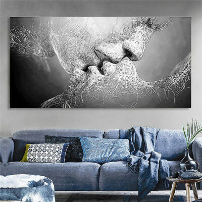 Black & White Love Kiss Abstract Art on CANVAS WALL ART Picture Print No Framed