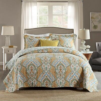 100% Cotton Reversible  Quilted Bedspread/Coverlet Queen Size  3pcs Set 1592