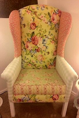 FRENCH COTTAGE SHABBY CHIC WING BACK CHAIR Florals Plaids w/Piping CUSTOM MADE