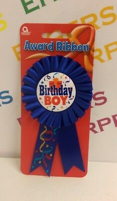 Amscan Happy Birthday Boy Blue Fabric Ribbon Rosette Award Badge 80mm dia carded