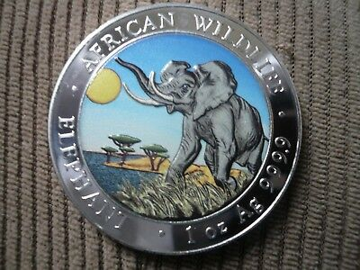 """2016 Somalian ELEPHANT """"DAY"""" COLORIZED African Wildlife 1 oz Silver Coin #122"""