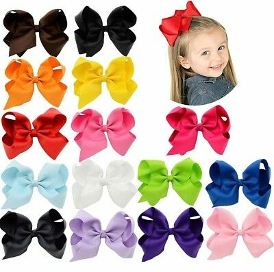 New 15 Pcs Hair Bows Girls Ribbon Lot 6 Inch X Large Alligator Clips Mix Colors