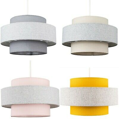 2 Tier Ceiling Pendant Drum Light Shades Easy Fit LED Bulb Home Fabric Lighting
