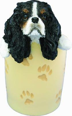 CAVALIER KING CHARLES Collectible Desk Pencil Holder HAND PAINTED  FREE Shipping