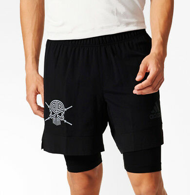 adidas S3 2 in 1 TechFit Mens Training Shorts - Black