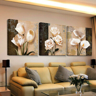 3 Pieces Unframed Wall Art Flower Paintings Poster Home Living Room Decor Witty