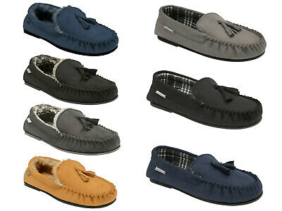 Dunlop Mens Moccasin Slippers Loafers Faux Suede Warm Lined Outdoor Sole 'Duke'