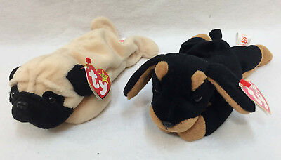 Ty Beanie Babies Pugsly Pug & Doby Doberman Original w/ Tags Lot of 2 1996