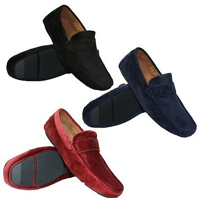 Mens Black Navy Red Italian Soft Suede Logo Loafers Casual Party Slip On Shoes