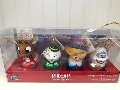 Roman Rudolph Red Nosed Reindeer Jingle Buddies Set of 4 Ornaments New in Box