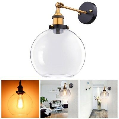 Vintage Industrial Wall-mounted Glass Light Wall Sconce Edison Lamp Ball Shape