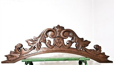 Architectural scroll leaves pediment Antique french carved wood salvaged crest
