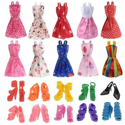 New 10 Pcs Barbie Doll Clothes Accessories Huge Lot Party Gown Outfits Girl Gift