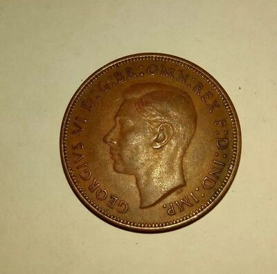 Great Britain 1938 Large One Penny Coin - United Kingdom England King George VI