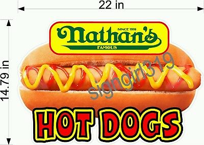 "Nathan's Famous Hot Dog 22"" CONCESSIONS SIGN DECAL FOOD Hot Dog Cart sticker"