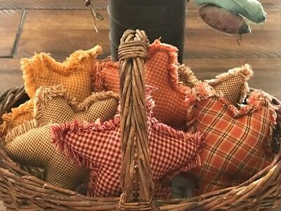 New Homespun Plaid Ornies Bowl Fillers PrImITive Stars Harvest Fall Orange Red