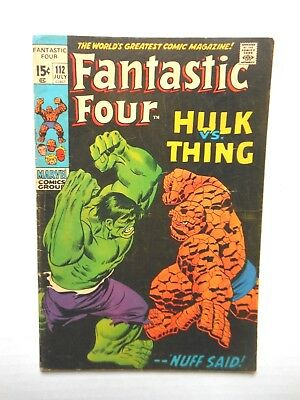 Fantastic Four #112 G/vg Or Better Condition Hulk Versus The Thing July 1971