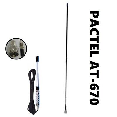 Pactel At-670 Mount Elevated feed & 6.5dbi Gain Fibreglass Antenna - Black 900mm
