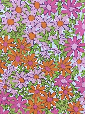 VTG Full Flat Sheet & 1 Pillowcase Pink Orange Daisies Flower Power Penny's USA