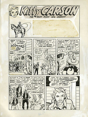 BOB POWELL Original Art: Complete 3 page KITTY CARSON story 1949 - Harvey Comics