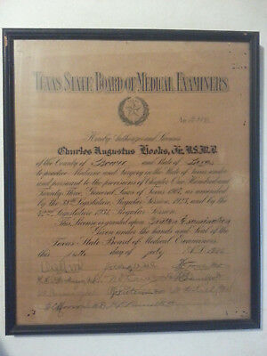 1935 Certificate Texas Medical Examiners License Medicine Surgery Doctor Seal