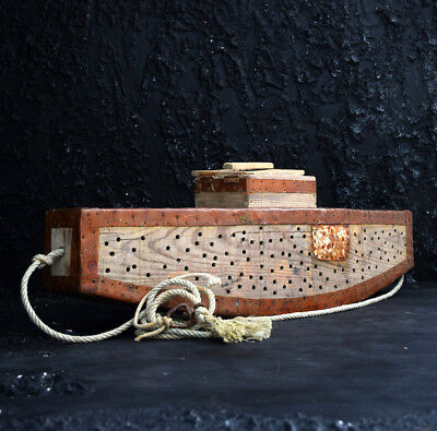 Antique Bait Boat Copper and wood Decorative Collectable Handmade Folk Art