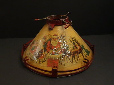 All Original 1920 Christmas Tree Stand With Stunning Santa Claus Paintings
