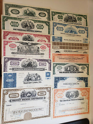 15 piece (Lot) Collectable Stock Certificates.  Free Railroad Certificate
