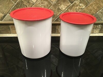 Tupperware 2418 & 2420 White One Touch Canisters with 2419 & 2421 Red Seals EUC