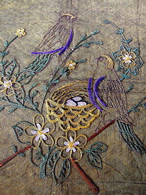 Beautiful Old Victorian Black Net Embroidered Birds/ Dragonflies Metallic Trim