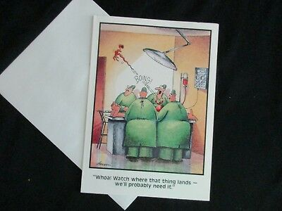 "The FAR SIDE 1986 Vintage Get Well Card ""We'll Probably NEED That Thing Surgery"""