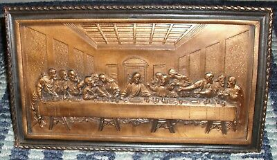 Last Supper Raised Relief 3D Embossed Copper Wall Plaque Pretty! Stands Out Look