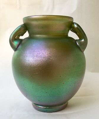 Czech/Loetz Kralik Iridescent Art Glass Handled Vase