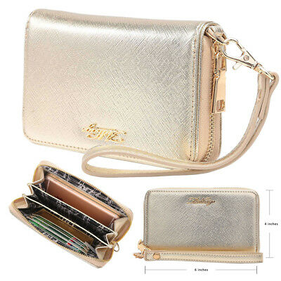 Aitbags Women Leather Wallet Clutch Bag Card Holder Coin Purse with Wristlet New