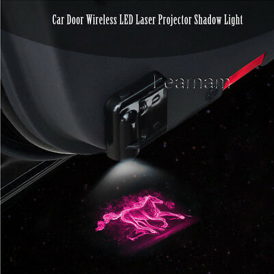 For Ford Mustang Pink Horse Logo Door Wireless LED Laser Projector Shadow Light