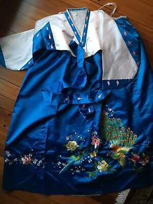 Hanbok Traditional Korean Womens Dress 2 Pc Blue Embroidered