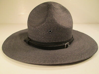 """Stratton """"The Lawman"""" Straw Style State Trooper Hat - New - Charcoal/Gray"""