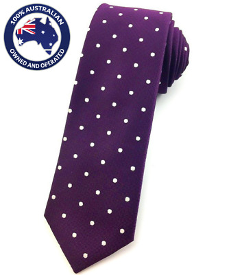 Men's Skinny Tie Purple White Polka Dots 6CM Slim Thin Necktie Wedding Neck Ties