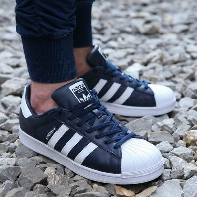 New ADIDAS Originals Superstar Leather Sneaker Mens navy white all sizes