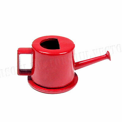 1:12 Dollhouse Watering Can Metal Red Home Garden Tool Accessory Miniature Decor