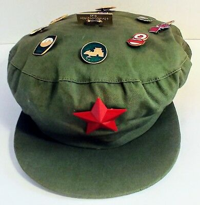 Chairman Mao Style Cap with Pins Reproduction EUC