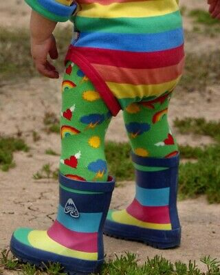 Retro Leggings Kids Toddler Baby Cute Colourful Organic Cotton Heart Rainbow Fun