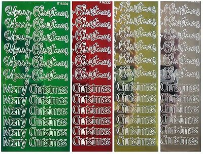 METALLIC MERRY CHRISTMAS Peel Off Stickers Gold Silver Red Green Card Making