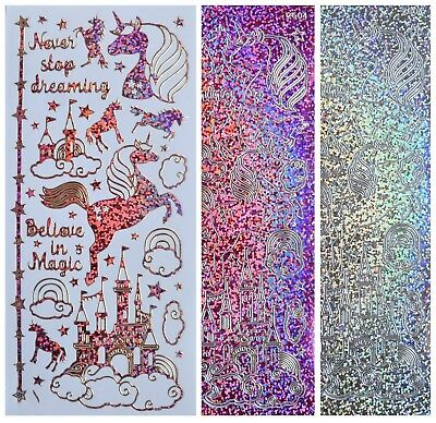 UNICORNS & CASTLES Peel Off Stickers Believe in Magic Stars Clouds Rainbows