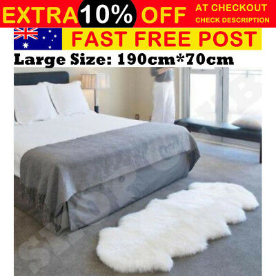 190CM DOUBLE Premium Quality Soft Sheepskin Lambskin Rug Pelt White Grey Black
