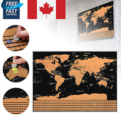 82 x 59CM BIG Scratch Off World Map Poster with States Country Flags Travel CA