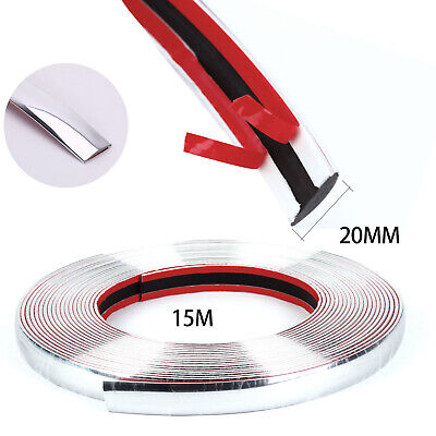 CHROME STYLING MOULDING TRIM STRIP SELF ADHESIVE 20MM x15M  FOR CAR DECORATION