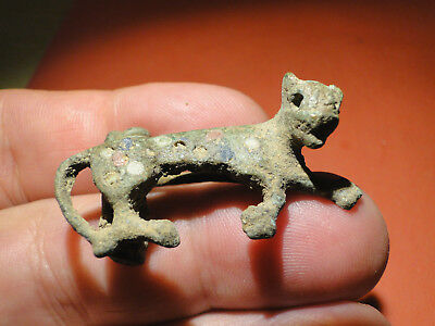 Interesting Late Roman Enamelled Bronze Fibula in the shape of a Panther.