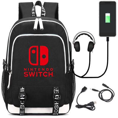 Nintendo Switch Logo backpack multifunction USB charging Schoolbag{w}