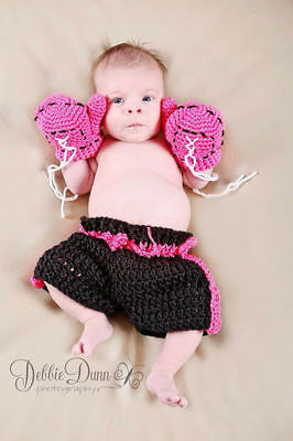 Boxing Gloves Pants Photography Props Costume Outfit Crochet Woolen For Baby Kid